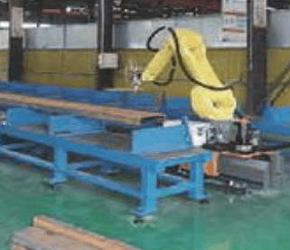 Industrial robot application in elevator fabrication