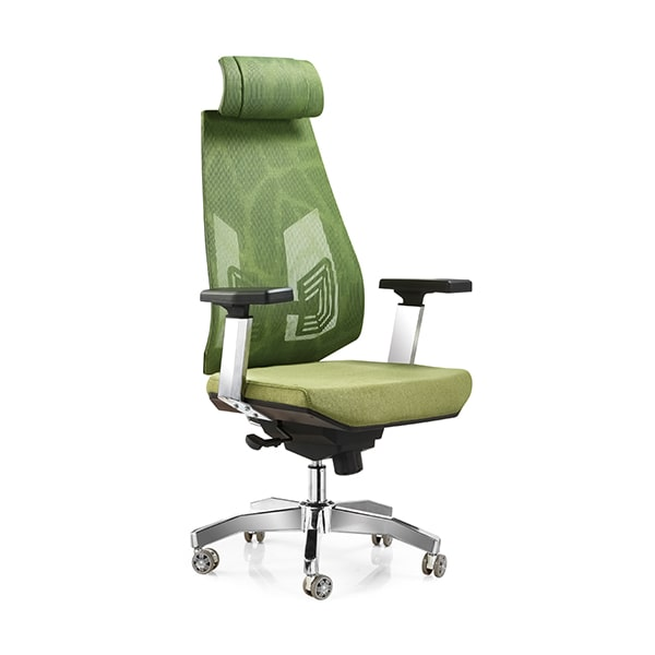 High back mesh seat chair with adjustable armrest