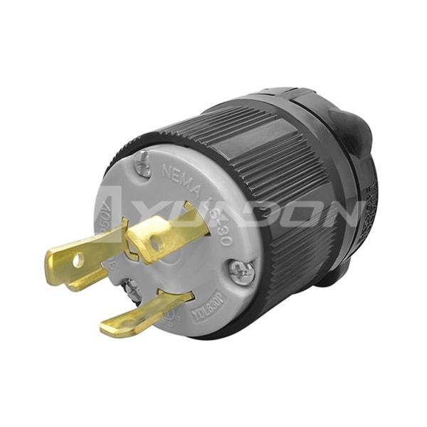 30A 250V, 2P 3W UL Listed Generator Power Socket Locking NEMA L6-30P Twist-Lock Plug