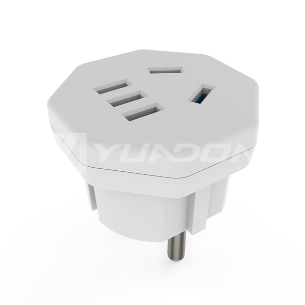 5 pins US CN pin sockets to 2 EU germany electric plug socket adapter electrical plugs for 220v Type E plugs adapter
