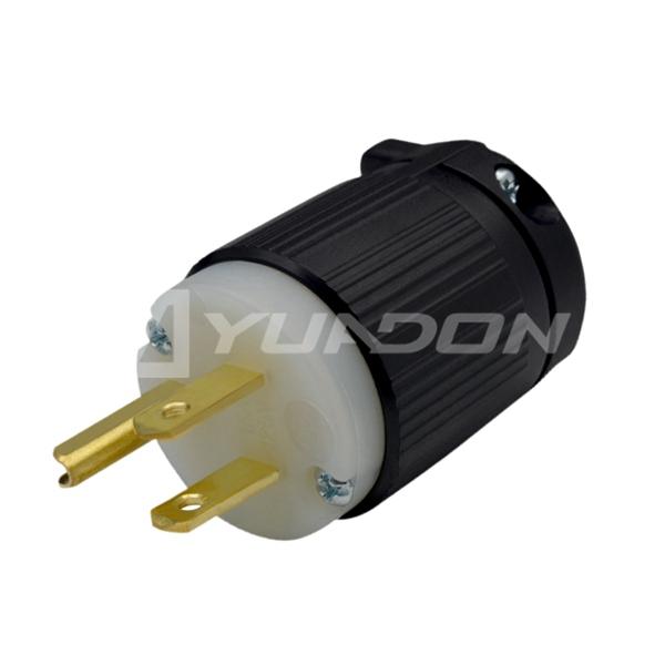 15 Amp 125 Volt Industrial Grade Straight Blade Plug Nema 5-15P Rewireable American Plug