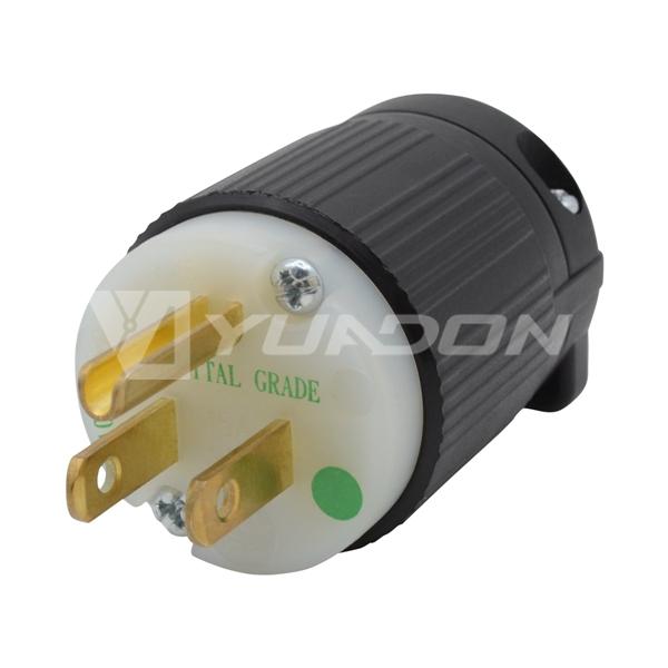 15 Ampere-125 Volt Hospital Grade Plug NEMA 5-15P medical plug hospital grade power plug