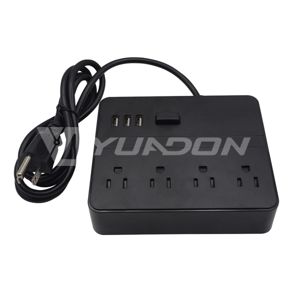 4-Way USA Power strip with usb port