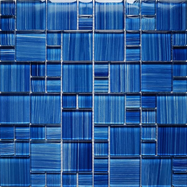 Wholesale 8mm Factory Mixed Blue Color Hand Painted Painting Drawing Color Crystal Glass Mosaic Tile