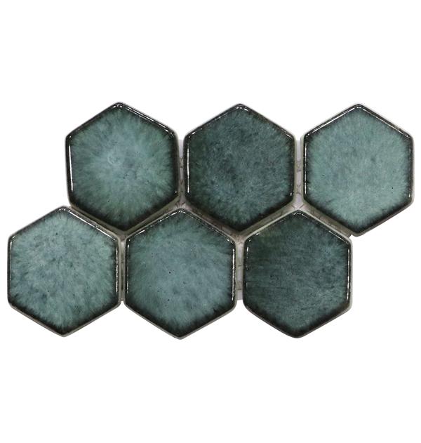Green Mixed Big Size Hexagon Shape Through Body Glass Mosaic