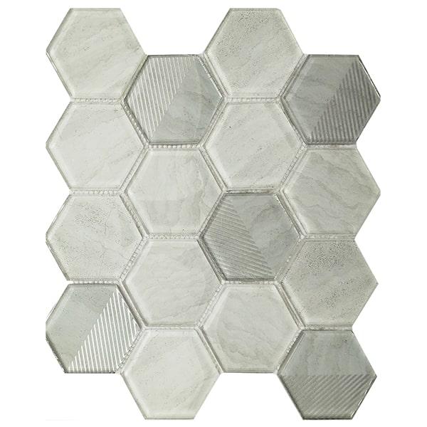 Ralart Mosaic Glossy Light Gray 73x82mm Hexagon Glass Tile for Backsplash Decoration
