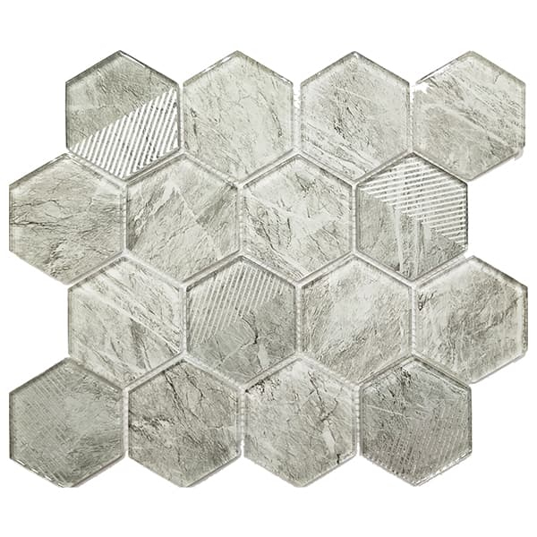 China Ralart Glossy Gray 73x82mm Mesh Mounted Hexagon Glass Tile for Bathroom Wall Decoration