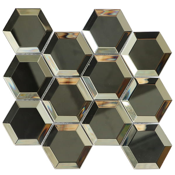 China 3D Effect Glossy Silver 73x82mm Hexagon Glass Tile for Interior and Exterior Wall