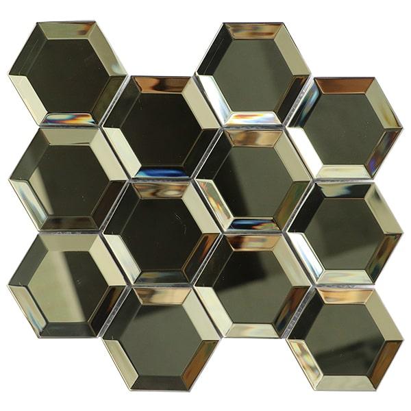 Foshan Ralart Mosaic 3D Glossy Gold 73x82mm Hexagon Glass Tile for Wall Decoration