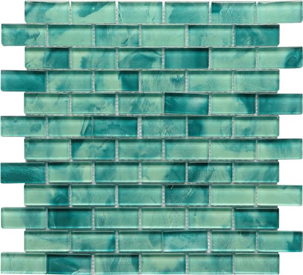 Swimming Pool Spa 23x48mm Glass Green Mozaik Tile For Swimming Pool