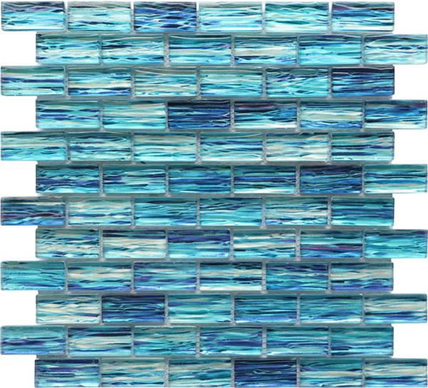 Digital Painting Blue Swimming Pool Tile Glass Mosaic