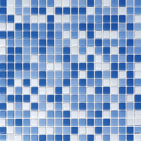 Foshan Ralart Mosaic's Blue White Square 10*10 Recycled Glass Mosaic for Bathroom, Kitchen Backsplash, Spa, Swimming Pool and Wall Decoration