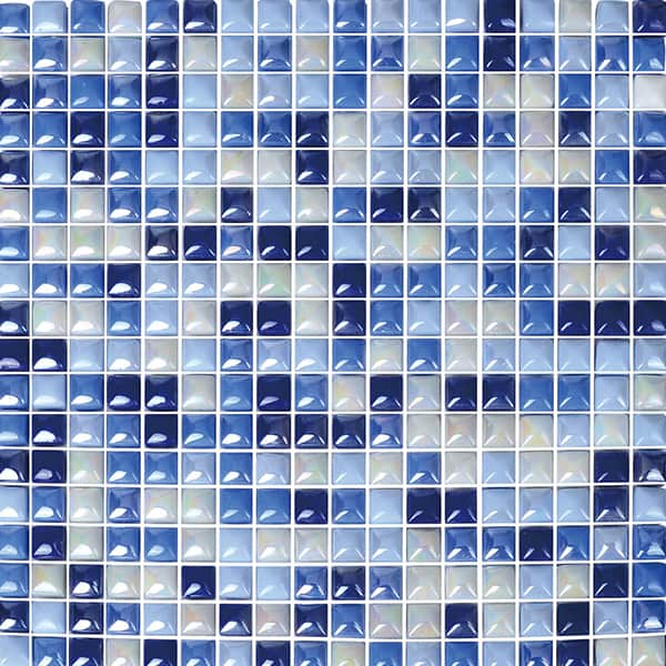 Foshan Ralart Mosaic's Blue Mix Iridescent Square 10*10 Recycled Glass Mosaic For Bathroom, Kitchen Backsplash, Spa, Swimming Pool and Wall Decoration