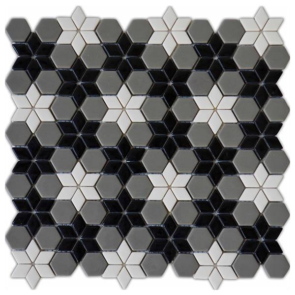 Foshan Ralart Mosaic's Black White Grey Irregular Matte Recycled Glass Mosaic for Bathroom, Kitchen Backsplash and Wall Decoration