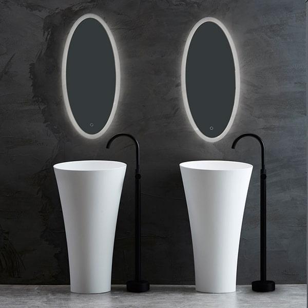 人造石一体立柱盆 圆形阳台洗手盆 卫生间洗脸盆 小尺寸落地式洗手盆BS-L12
