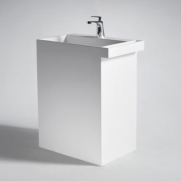 人造石立柱盆 高级卫生间洗脸盆 艺术柱盆 阳台洗手盆方形可定制BS-L2