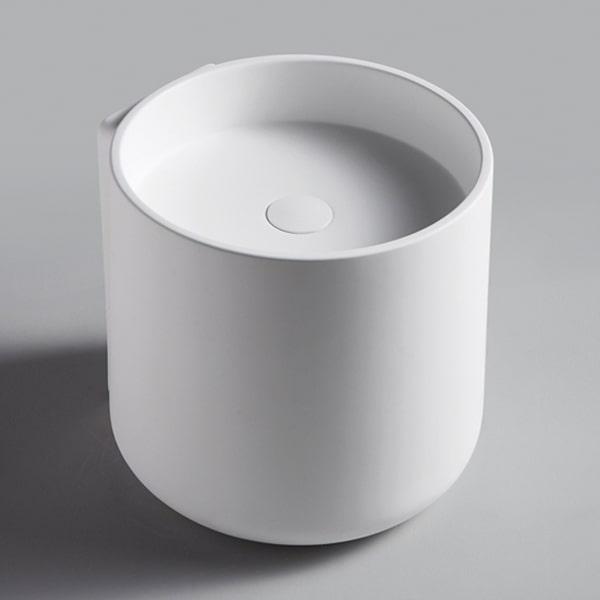 人造石台上艺术盆 卫生间圆形白色厚边洗面盆 台上洗手盆卫浴艺术盆BS-H10
