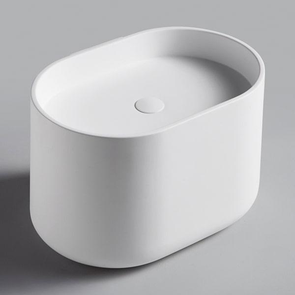 人造石台上艺术盆 台上盆椭圆形家用洗手盆 现代简约白色陶白艺术盆BS-H11