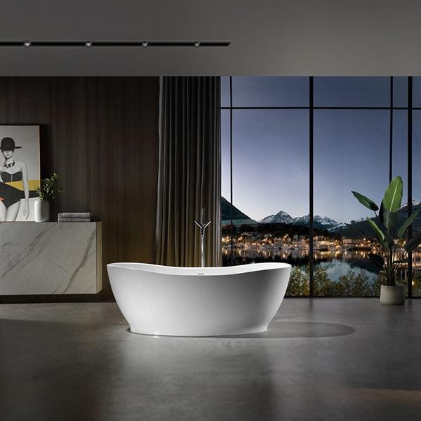 人造石浴缸 酒店家用独立式浴缸 椭圆形成型浴池 人造石浴缸品牌BS-317