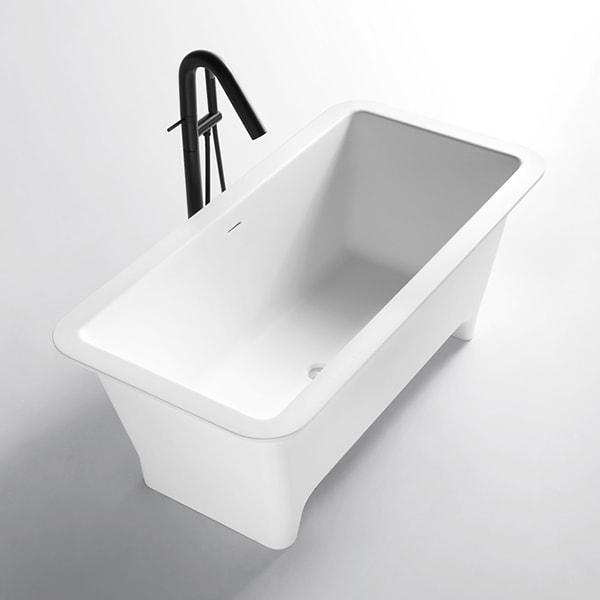 人造石浴缸 长方形独立式浴缸 家用成人泡澡浴缸 卫生间艺术沐浴缸BS-Q03