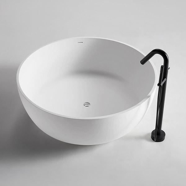 厂家定制 人造石浴缸 简约家用独立式酒店浴缸 圆形成人浴盆BS-S25