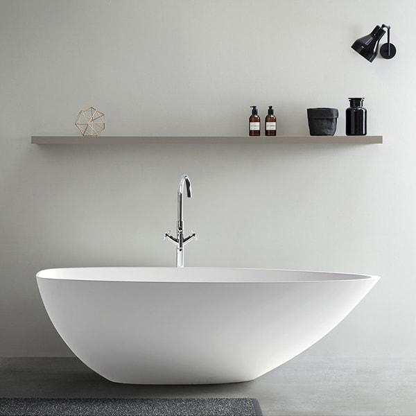 人造石浴缸 民宿酒店工程浴缸 独立式成人浴盆 一体无圆形浴缸 BS-S84