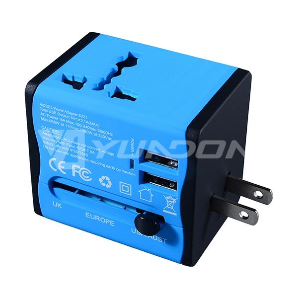 TA33 双USB全球通转接头 多功能转换插头jrs直播免费直播台球 多国旅行出国转换器