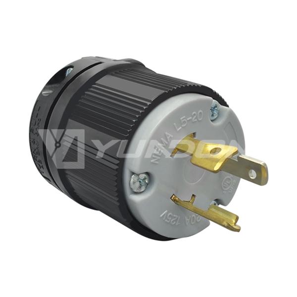 NEMA L5-20P 引挂式插头 引挂式防脱插头 20A防脱插头