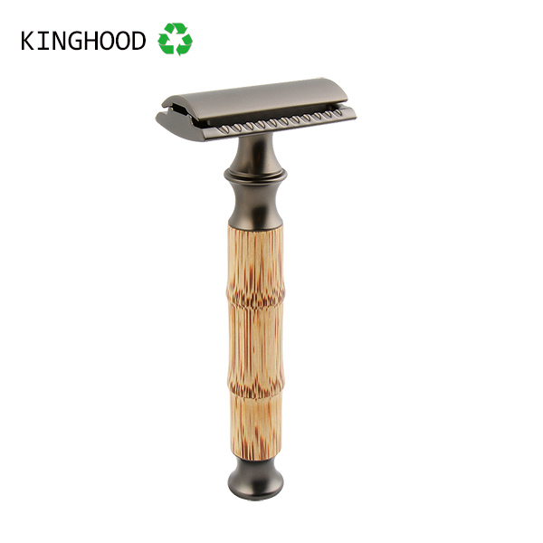 Double Edge Bamboo Safety Razor With Black Metal