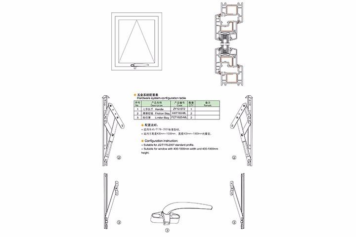 塑料上悬窗五金系统配置(一)
