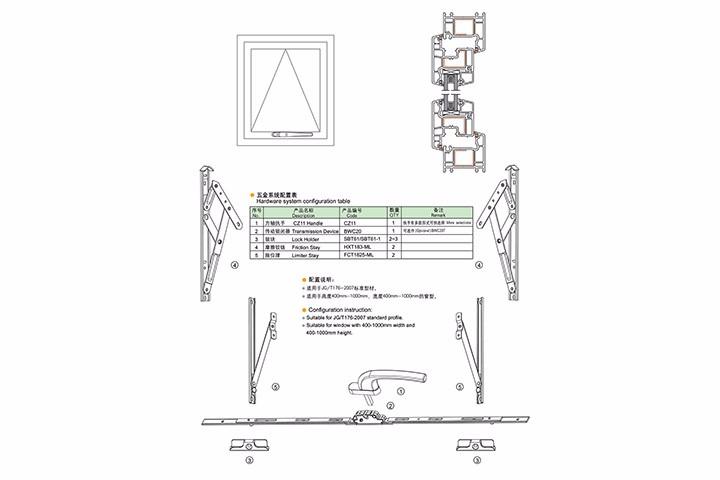 塑料上悬窗五金系统配置(二)