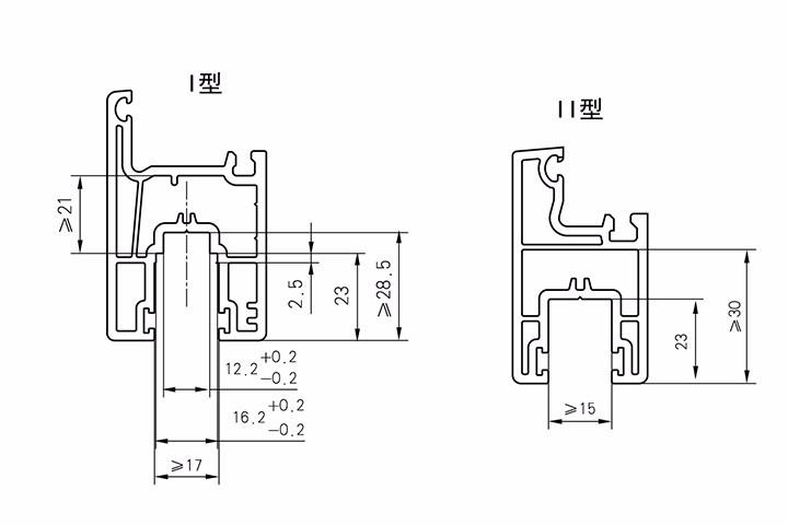 推拉窗扇传动锁闭器槽及推拉门滑轮槽口尺寸