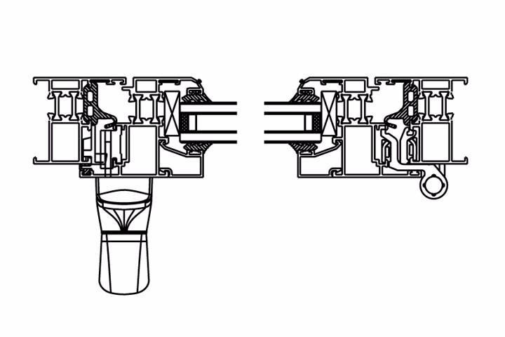 欧标20槽节能窗内平开单向