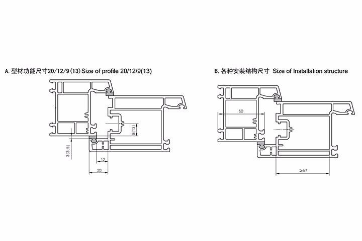 内平开门型材功能尺寸