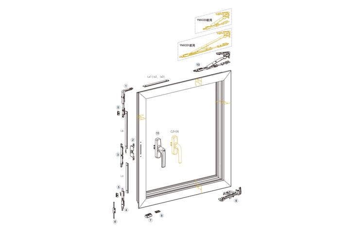 隐形合页内平开下悬铝窗五金系统