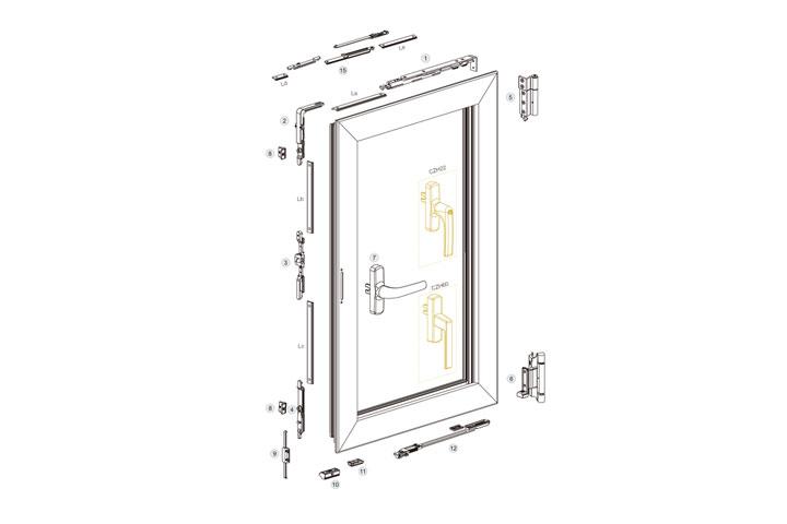 欧标20槽节能内平开下悬窗五金系统